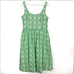 Donna Morgan | green and white embroidered dress